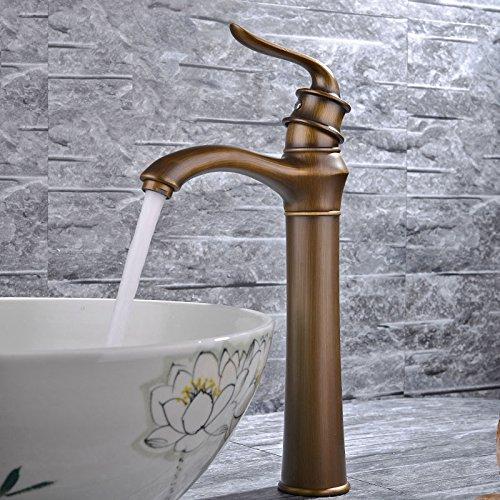 バスルーム・洗面ボウル・洗面台用水栓 綺麗な台所用蛇口 台付 冷熱混合栓 真鍮(黄銅) 欧米風 ファッション ワンホール ニッケルめっき表面処理 アンティーク真鍮色 MPDK015