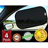 Kinder Fluff Car Window Sunshades (4X)-The Only Certified Sunshade to Block 99.79% UVA & 99.95% UVB - Mom's Choice Gold Award
