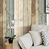 HaokHome 205 ビンテージ木目ウッドパネル壁紙ロールブルー/ベージュ/ブラウン木製プランク壁画ホームキッチンバスルーム装飾 53cmx10m