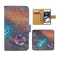 (ティアラ) Tiara Xperia XZ SO-01J スマホケース 手帳型 デニム 手帳ケース カバーデニム ペイント ホヌ 亀 ハワイ E0184030090103