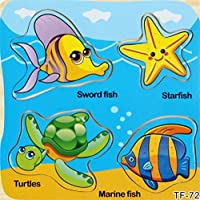 YChoice 知育パズル キッズ 木製パズル 教育学習玩具 素晴らしいギフト キッズ(魚)