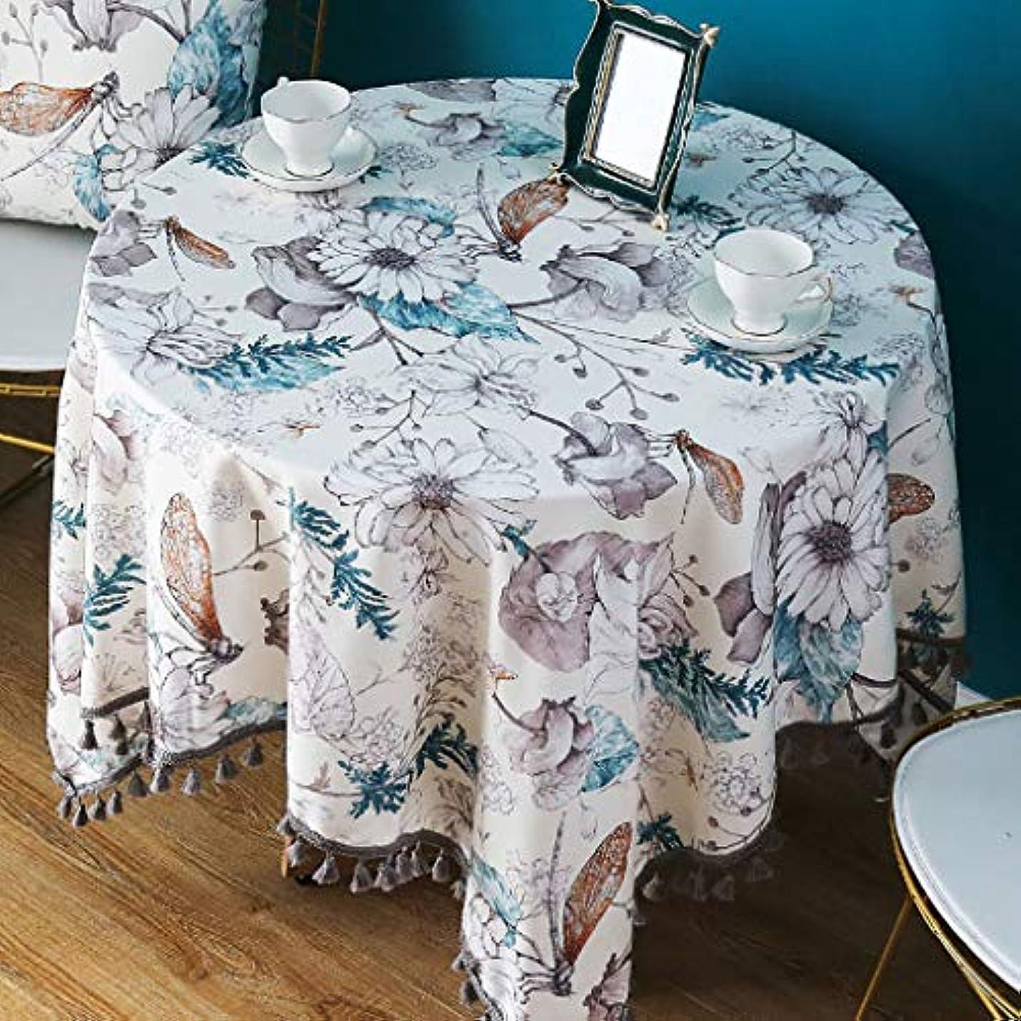 ご覧くださいさせるヤングラウンドコットンリネンテーブルクロス,洗える タッセルテーブルクロス 素朴な 印刷 シワ ファビック スクエア ダイニング テーブル カバー -c 60x60cm(24x24inch)