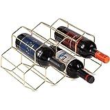 KirinRen Gold Metal Wine Rack Freestanding, Tabletop Wine Rack Holder, Countertop Wine Bottle Holder - Geometric Design for W