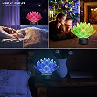 Mangjiu ランプ 夜のランプ 家用 はす3D夜ライトテーブルの電気スタンド7色3Dの錯覚ライト (クリア)