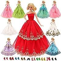 Barwa 15枚= 5枚高品質ファッションドレス+10組シューズ バービーギフト バービー服 クリスマスプレゼント1/6人形用 手作り