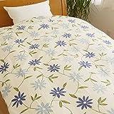 肌掛け布団用 掛け布団カバー シングル 140×190 綿100% 可愛い花柄 日本製 【50-1370】 ブルー
