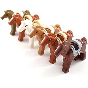 6体の組み立て用の馬と動物アクセサリーセット-レゴ併用可能