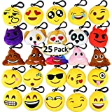 Dreampark Emoji Keychain Mini Cute Plush Pillows, Key Chain Decorations, Kids Party Supplies Favours, 5.1cm Set of 25