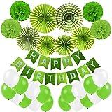 誕生日装飾、cocodeko Happy誕生日バナー、紙ポンポン、吊り下げ紙ファンセットと20個のすべてのバルーン誕生日パーティーデコレーション – グリーン、ライトグリーンandホワイト
