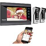 TMEZON WIFI 7 Inch Smart IP Wireless Video Doorbell Intercom System Entry Door Phone 2x Montior with 1200TVL Wired Doorbell C