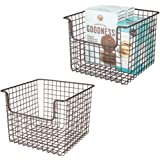 mDesign Metal Wire Open Front Organizer Basket for Kitchen Pantry, Cabinet, Shelf - Holds Canned Goods, Baking Supplies, Boxe