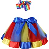 TiaoBug Rainbow Tutu Skirt Dress with Headband Kids Girls Photography Ballet Dance Party Outfits