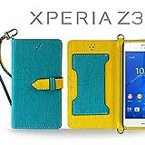 XPERIA Z3 SO-01G SOL26 401SO ケース JMEIオリジナルカルネケース VESTA ブルー Sony docomo au softbank ドコモ エーユー ソフトバンク エクスペリアz3 スマホ カバー スマホケース 手帳型 スマートフォン