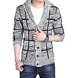 CEEN メンズ フード付き ジャケット チェック 羽織り カーディガン スウェット コート ニット おしゃれ 編みセーター テーラード 上着 普段着 秋 冬