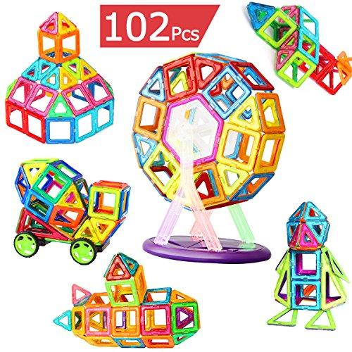マグネットブロック 磁気おもちゃ 知育玩具 磁石ブロック マグネット3d立体パズル 外しにくい 磁石付き積み木 カラフル磁性構築ブロックのおもちゃ 多彩 magnet 磁気建設玩具 AUGYMER想像力と創造力を育てる知育 玩具 空間認識能力 男女の子のおもちゃ お祝いプレゼント モデルDIY(車輪・支架セット付き)
