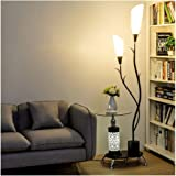 Floor Lamps Vertical Lamps Light Wrought Iron Floor Lamp with Coffee Table,PVC Lampshade Floor Lights with 2 Light,Storage St