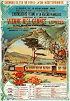 """tx122ヴィンテージ1904ヴィエンヌNice Cannes Expressフランス鉄道旅行ポスターre-print–4異なるサイズを選択a4/ a3/ a2+ / a203 A3 (420 x 297mm) 16.5"""" x 11.7"""" TX122A3"""