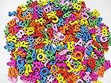 木製 アルファベット カラーチャーム カラフルアソートMIX 300個 12×14mm 手芸材料 ウッド 英文字  ヒューイ雑貨