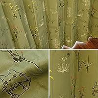 【2300サイズ以上×15デザイン&カラーから選べる!】 カーテン ジブリ 遮光3級 形状記憶 洗える 日本製 セミオーダー イージーオーダー 「草かげの中」 グリーン Aフック 幅210cm × 丈190cm 1枚単品 【受注生産品】
