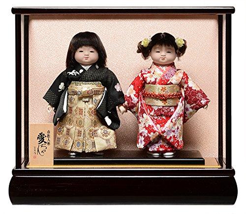 市松人形?8号市松人形 一対:綸子衣裳花梨塗ケース付【愛ちゃん】:公司作