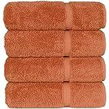 Luxury Hotel & Spa Bath Towel 100% Genuine Turkish Cotton, Set of 4 (Coral)