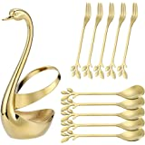 Stainless Steel Gold Creative Dinnerware Set AnSaw - Decorative Swan Base Holder with 5 Forks and 5 Spoons for Coffee, Fruit,
