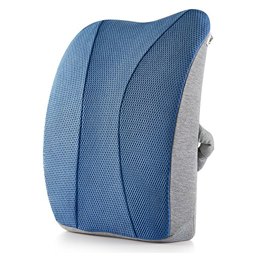 低反発 クッション 背もたれクッション ランバーサポート 痛み軽減 車用 オフィス 椅子 通気性 取付バンド調節可能 ネイビーブルー【Jiaao】