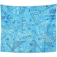 emvencyタペストリー曼荼羅60 x 80インチホームデコレーションMath数学の図面Doodleスタイルシンボル教育Equation Hand Drawnの寝室リビングルーム寮 60x80 イエロー