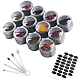 Hovome 12 Magnetic Spice Tins Set Stainless Steel Storage Spice Containers Magnetic on Fridge Spice Jar Rack Organizers Kitch