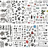 COKTAK 8 Pieces/Lot Small Sexy Lips Leaf Black Cartoon Temporary Tattoo For Kids Cute Star Children Tattoo Sticker Infinite Love Women Body Finger Art Waterproof Tatoos Sheet Girls Paper Diamonds