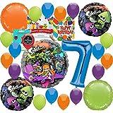 (スプラトゥーン) Splatoon パーティー用品 7歳の誕生日バルーンデコレーションバンドル 誕生日カードと8つのお菓子バッグ付き