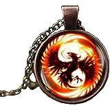 Phoenix Necklace, Phoenix Pendant, Pheonix Jewelry, Phoenix Charm, Men's Necklace