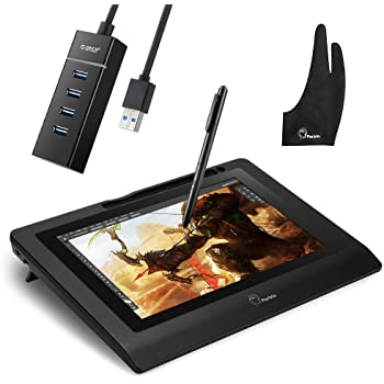 Parblo Coast10 10.1インチ グラフィックモニター お描きモニタ デジタルスクリーン コードレスとバッテリーフリーペン+2指グローブ+ポータブル高速4ポートUSB3.0ハブなどが付き