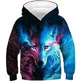 ENLACHIC Kids Wolf Hoodie Boys Teens Girls 3D Animal Galaxy Print Sweatshirt Pullover