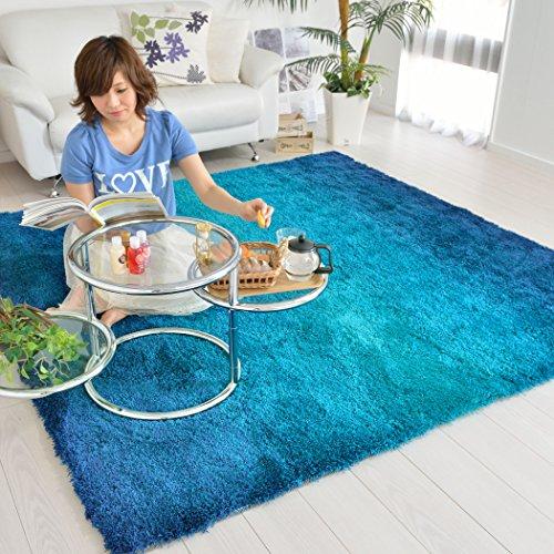 なかね家具 グラデーションシャギーラグ おしゃれ ホットカーペット対応 ブルー 140×200 325gran