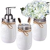 Mason Jar Bathroom Set(3 Piece)-Foaming Soap Dispenser, Toothbrush Holder ,Flower Vase,for Wedding House Decor Countertop and