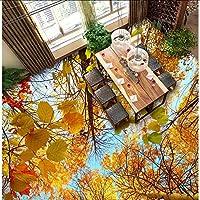 Xueshao 3D秋の木の木の床絵画キッチンリビングルーム着用床の壁紙壁画-400X280Cm