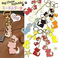 [10色] ビッグ CAT × トリプル ミニ CATキーホルダー 4つの ネコ バッグチャーム / キーリング (チェリーピンク)