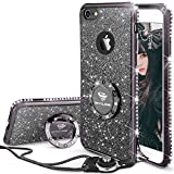 iPhone 6s ケース, iPhone 6 ケース, かわいい リング付 キラキラ 衝撃吸収 スタンド機能 おしゃれ ラインストーン ソフトプロダクション 女子用 アイフォン 6s/アイフォン 6 ケース (濃紫/ブラック)