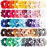 R HORSE 50 Packs Satin Hair Scrunchies Set Elastic Colorful Ponytail Holder Solid Color Hair Ties Soft Hair Bobbles Hair Accessories for Women