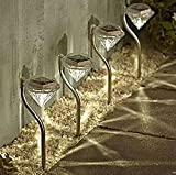 MedianField 【 led ガーデンライト 4個 セット 】 ダイヤモンド 型 ソーラー 充電 ledライト ソーラーライト 屋外 ガーデニング (暖色)