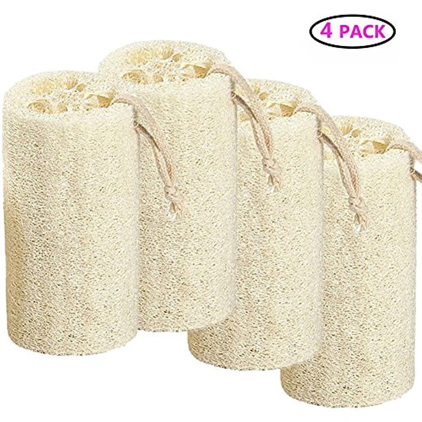 滅びる絶縁する前文Natural Loofah バスボディスポンジバスルームシャワーエクスフォレイティングスクラバーブラシボディスパマッサージャー 10cm (4 pack)