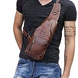 KISENG ショルダーバッグ 本革 メンズ ワンショルダー ボディバッグ 斜めがけバッグ おしゃれ 軽量 大容量 カバン バック (ブラウン)