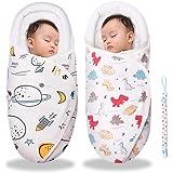 ベビー おくるみ ベビー寝袋 綿100% 新生児用 抱っこ布団 赤ちゃんの寝袋 赤ちゃんの夜泣き対策に 布団 柔らかく 通気性抜群 敏感肌適合 記念撮影 出産準備 出産祝い (宇宙+恐竜, 0-3ヶ月)