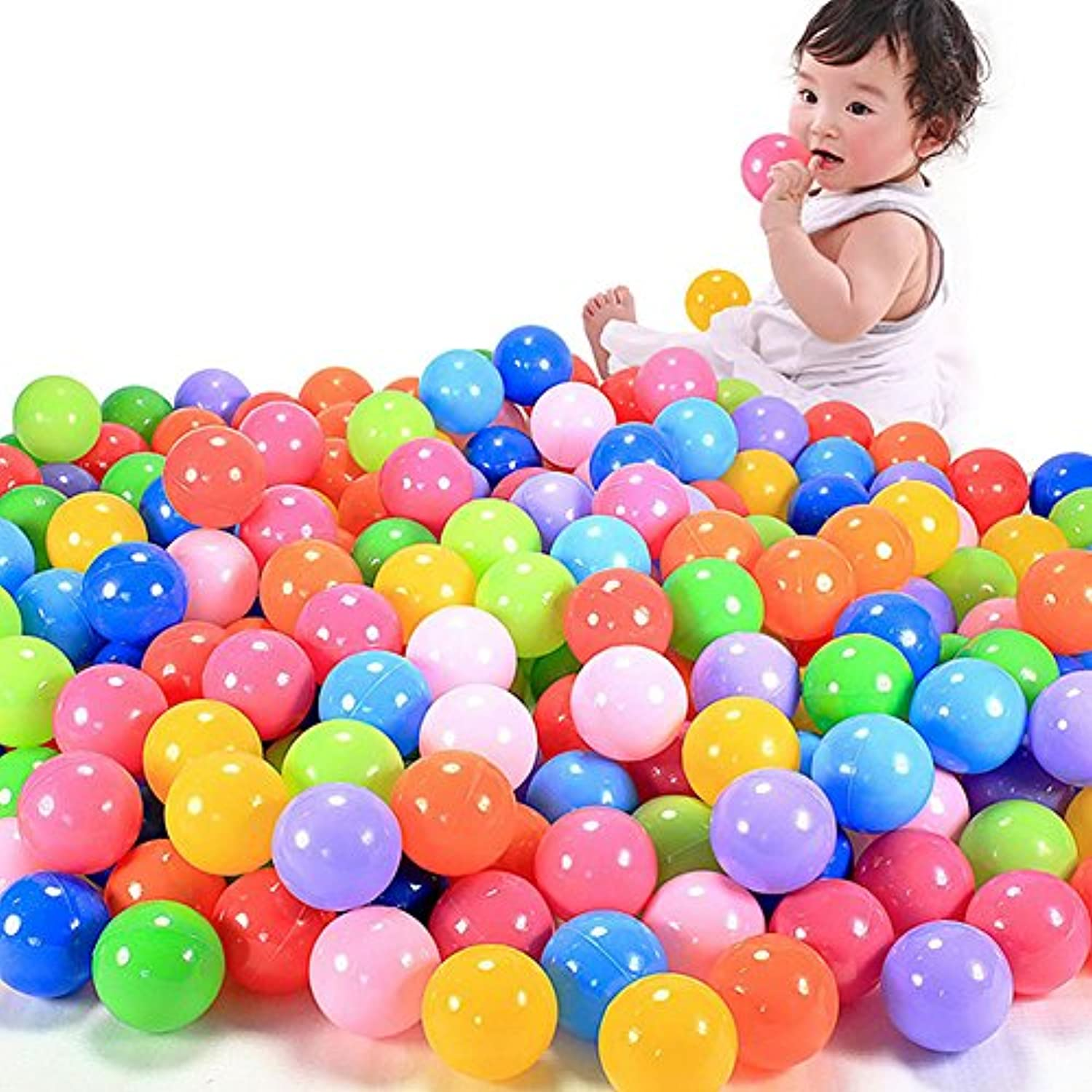 NNDA CO 5.6cm 200pcs Colourful Fun Ball Soft Plastic Ocean Ball Baby Kid Toy Swim Pit Toy