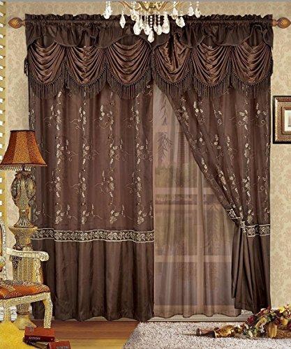 """Fancy Collection 刺繍カーテンセット1 パネルカーテンに裏地と上飾り付 Monica New 55"""" x 84"""" ブラウン"""