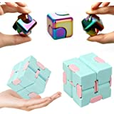 Fidget Spinner Cube + Infinity Cube, EDC Fidget Toy Set, Supe Metal Rainbow Gyro Spinners Pack Marvel, ADHD Hand Spinner Squa