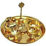 Brass Puja Thali Set with Diya; Bell; Bowl; Incense Stick Stand and Kalash (Golden)