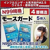 N95の上N99 PM2.5対応マスク サージカルマスク 女性用 使い捨て「モースガード5枚入り 【L】9.5cm×17.5cm」