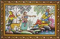 Radha Krishna on the Banks of Yamuna with Gopis - Watercolor on Patti - Artist Rabi Behera